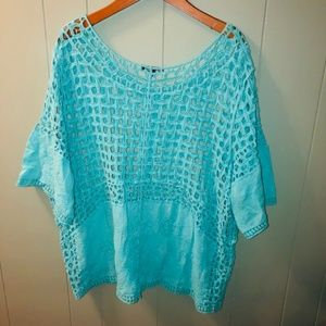 Lane Bryant | teal crochet and embroidered blouse